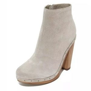 Joie Dewitt Clog Boot Bootie Platform Wood Suede